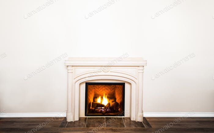 Luxurious White Marble Fireplace and empty wall