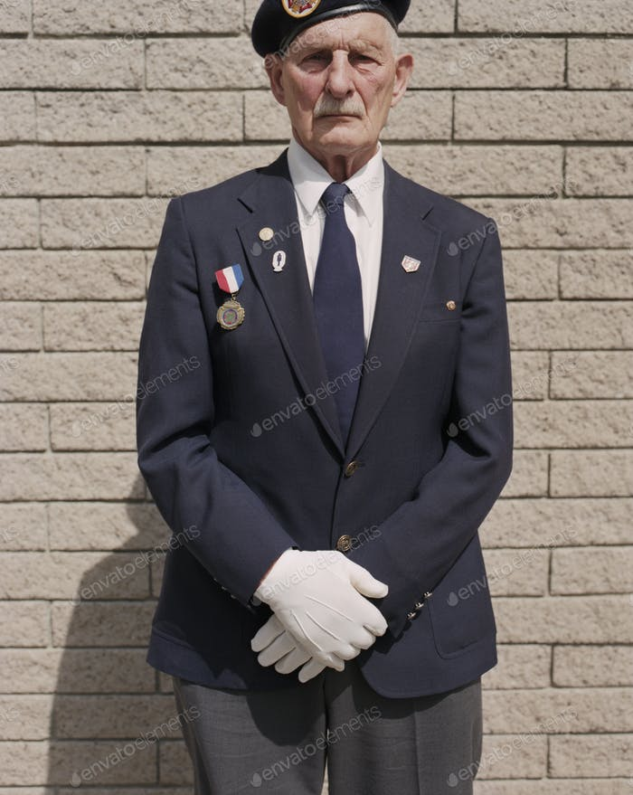 Portrait of elderly WWII veteran