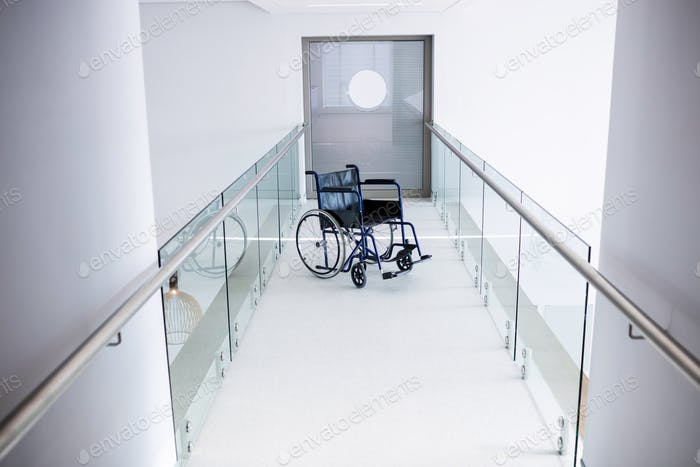 Empty wheelchair in the passageway