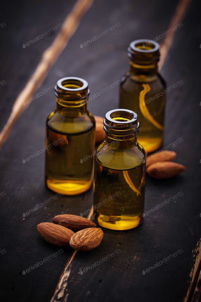 Almond oil in small bottles