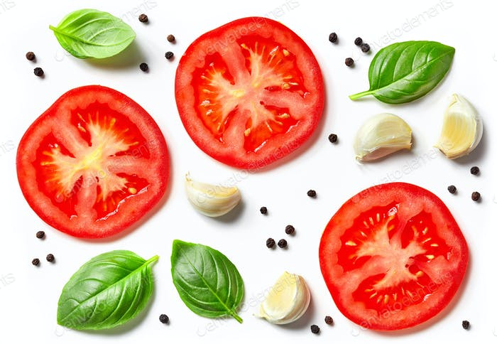 Tomaten, Knoblauch und Basilikum