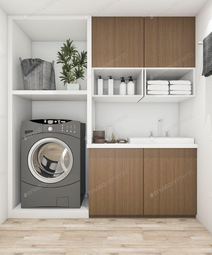 3D representación sala de lavandería de madera con lavadora