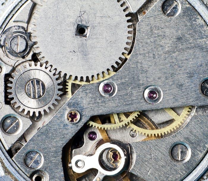 Close-up on clock mechanism