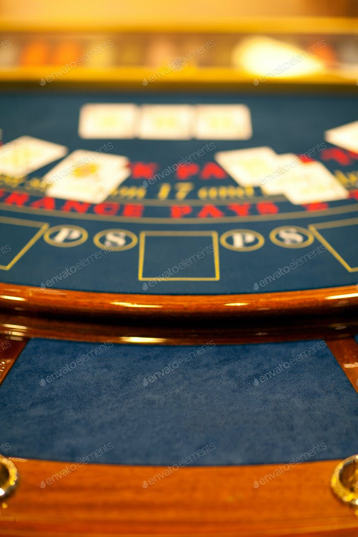 detail of a blacjack table