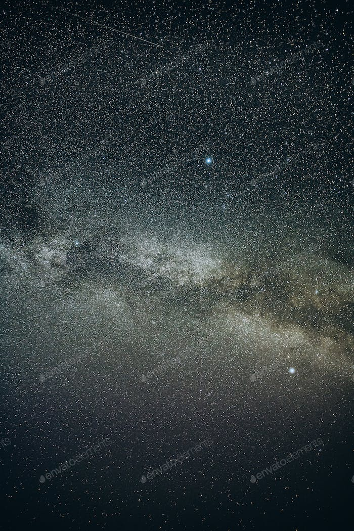 Real Night Sky Stars With Milky Way Galaxy. Natural Starry Sky Black Background