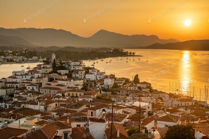 Sunset on Poros island in Aegean sea, Greece