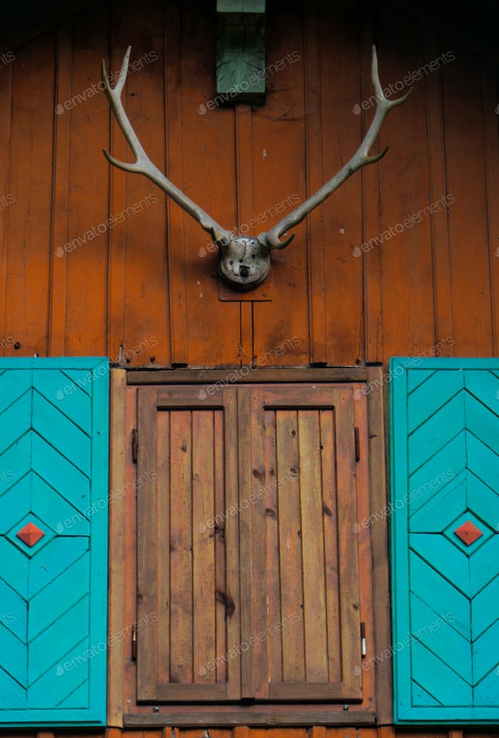 details of a roof on a wooden cabin/ hiking shelter with window and antlers trophy