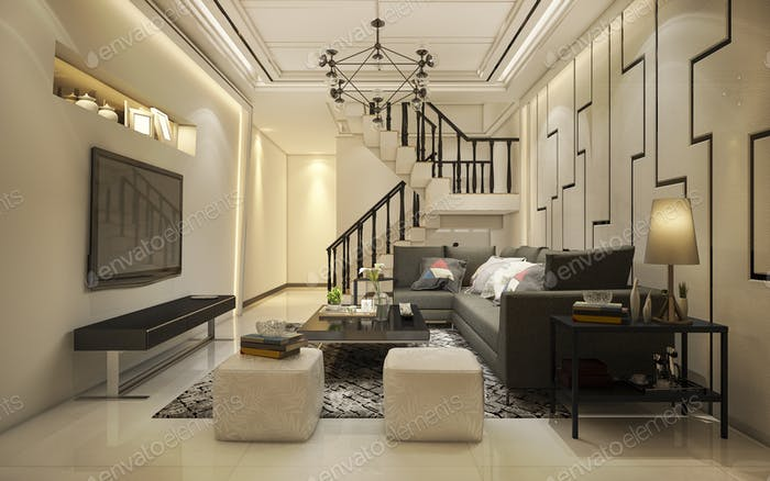 3d rendering vintage warm tone wood living room near stair