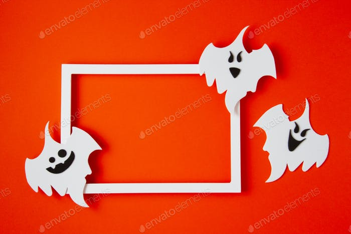 Top view of Halloween decoration with plastic bats. Party, invitation, halloween decoration