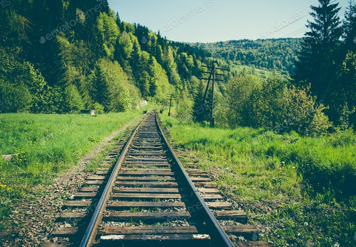 Rail goods path in the mountains