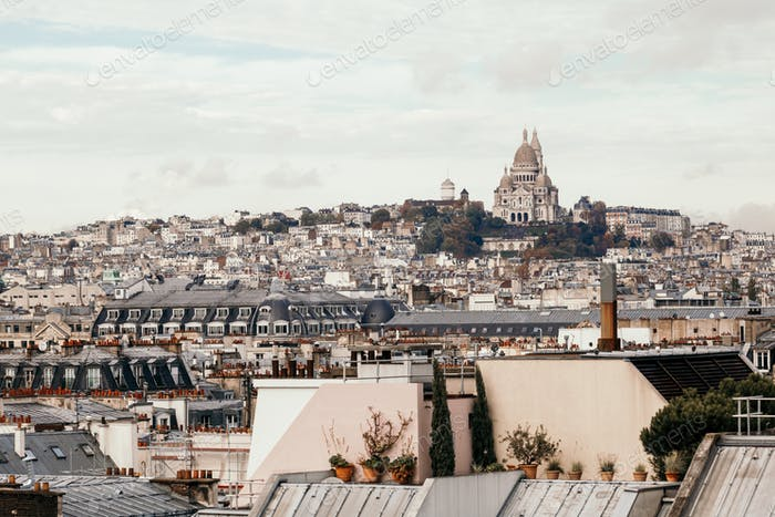 Beautiful panoramic view of Paris with the Basilica of the Sacred Heart. Vintage toned image.