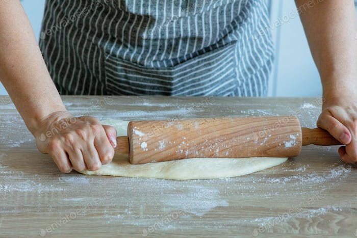 the yeast dough is rolled