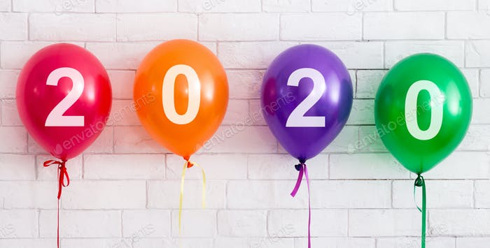 New year party balloons with 2020 concept on white bricks wall