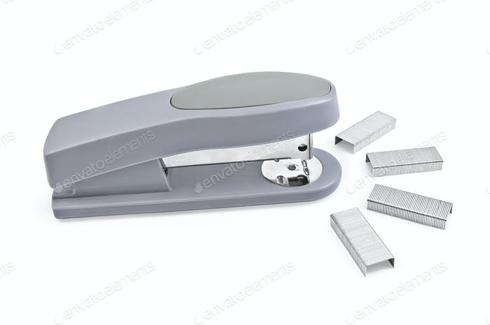 Gray stapler with staples