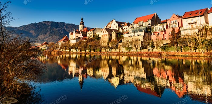 Frohnleiten panorama small city above Mur river in Styria,Austria. Famous travel destination