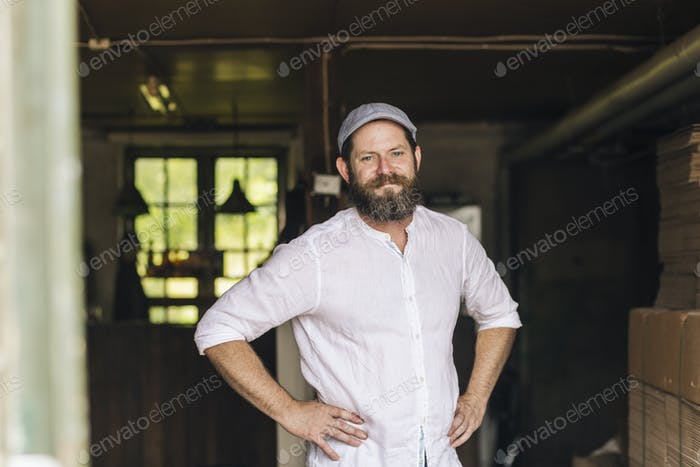 Portrait of brewery worker