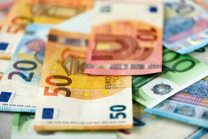Euro currency money banknotes background. Payment and cash concept. Announced cancellation of five