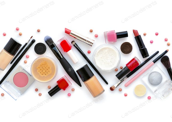 Makeup Brush And Decorative Cosmetics On A White Background Top