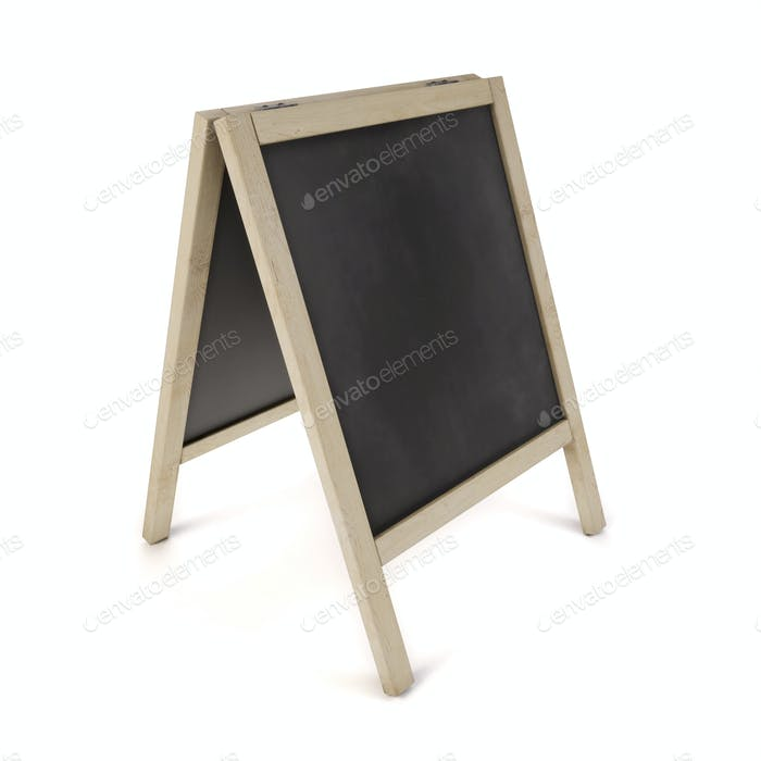 Blank chalk board on stand. 3d illustration