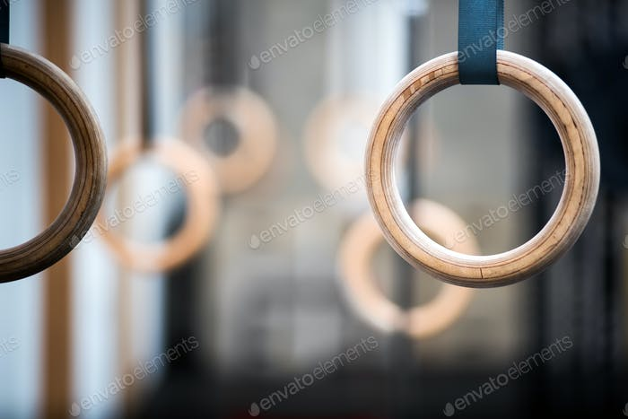 Sport rings in close-up
