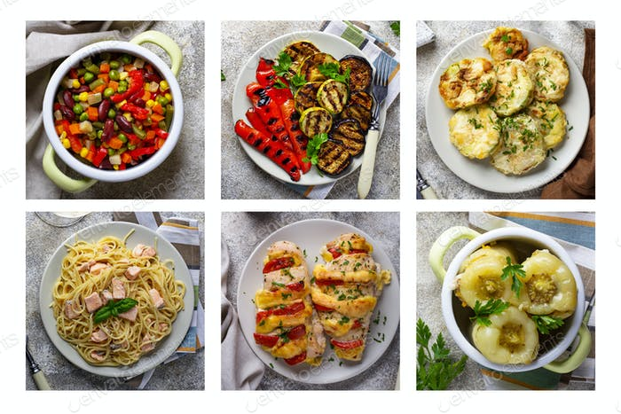 Food collage. Different homemade dishes