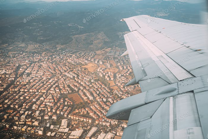 Izmir, Turkey. Beautiful Cityscape Of Turkish Town View From Air