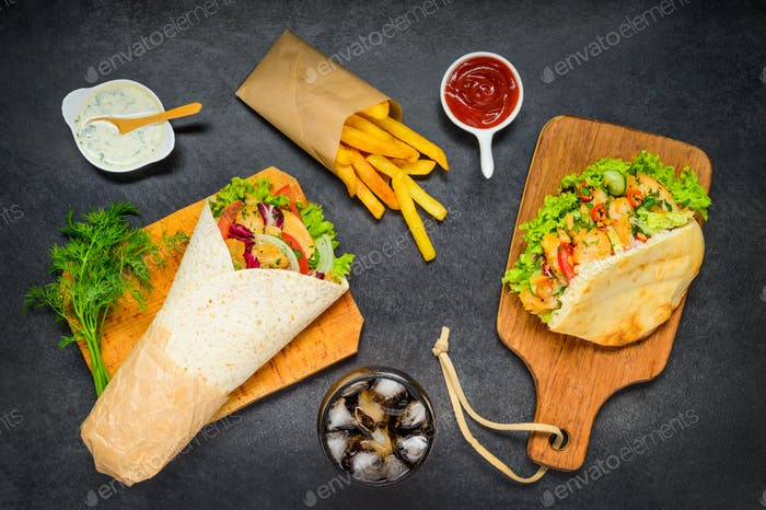 Thumbnail for French Fries with Doner Kebab and Shawarma