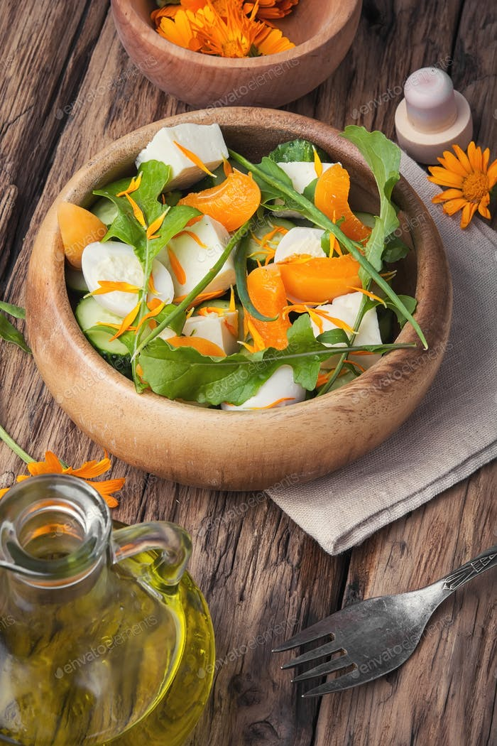 herb salad with calendula flowers