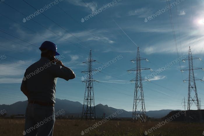 male worker at electricity station