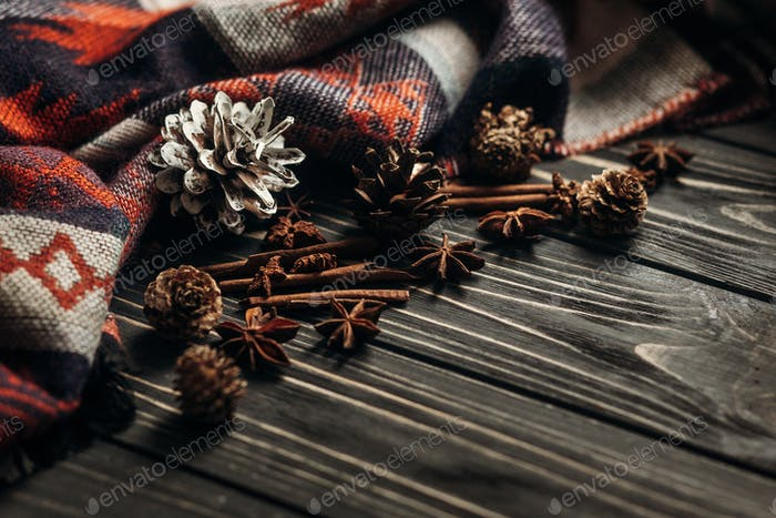 Anise cinnamon on wooden rustic background