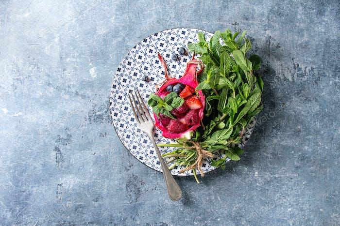 Salad in dragon fruit