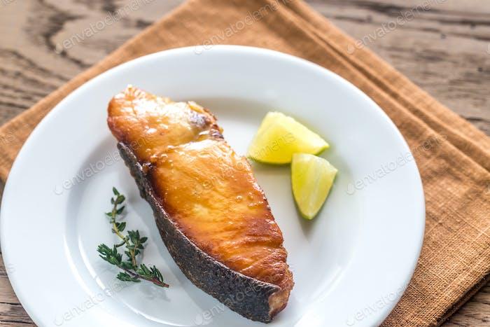 Roasted fish steak
