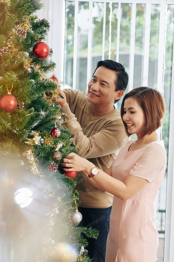 Couple hanging baubles
