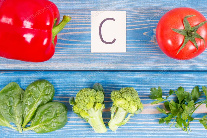 Vegetables containing vitamin C and natural minerals, concept of strengthening immunity