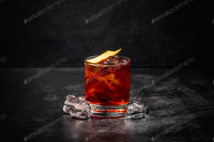 Glass of Negroni cocktail
