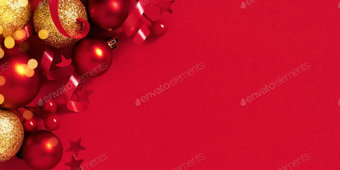 Red Christmas of New Year Banner