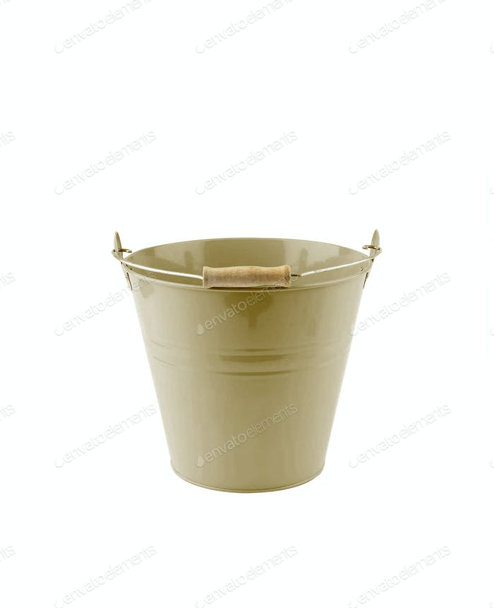 Small iron milling green bucket on white