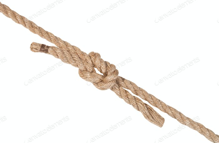 reef knot joining two ropes isolated on white