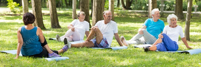 Senior people training in the park