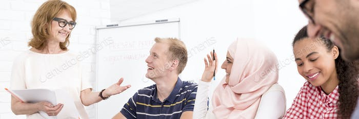 Laughing participants of language course