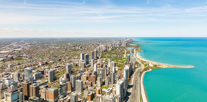 Chicago Stadt Wolkenkratzer Panorama, blauer Himmel Hintergrund. Skydeck Beobachtung