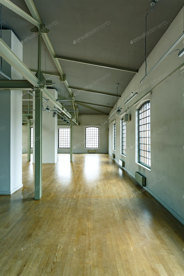 Interior with loft windows