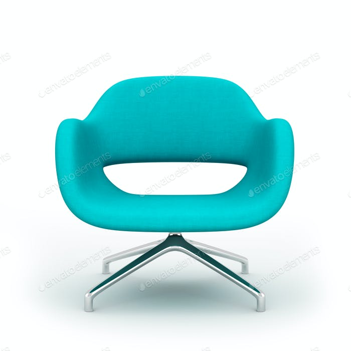 Blue modern armchair isolated on white background 3d rendering