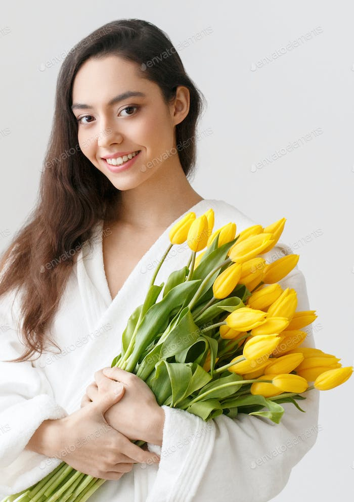 Tulips woman flower yellow tulip female portrait