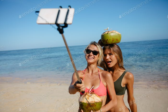 Female friends taking picture with smartphone on selfie stick on