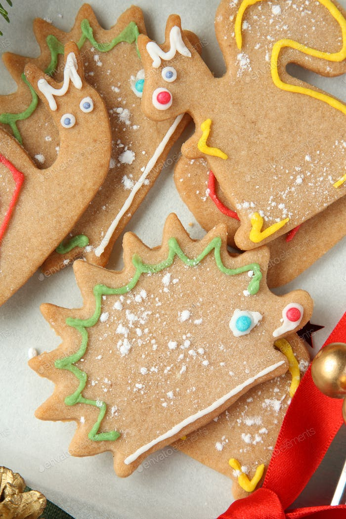 Homemade christmas animal-shaped cookies with icing.