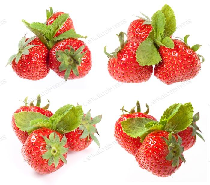 Erdbeere mit grünem Blatt