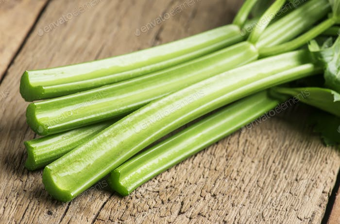 Stems of fresh celery