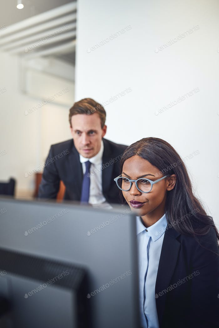 Diverse businesspeople working on a computer together in an office
