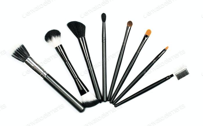 Professional makeup brush set on white